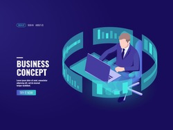 Office work, man sitting at the table, working on laptop, data processing, bank employee, analyst, statistician information chart, infographics, data visualization isometric vector illustration dark