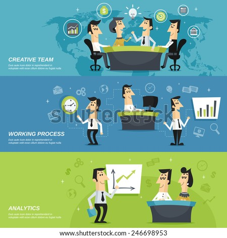 Office work team creative planning strategy and analytic results presentation horizontal banners set abstract isolated vector illustration