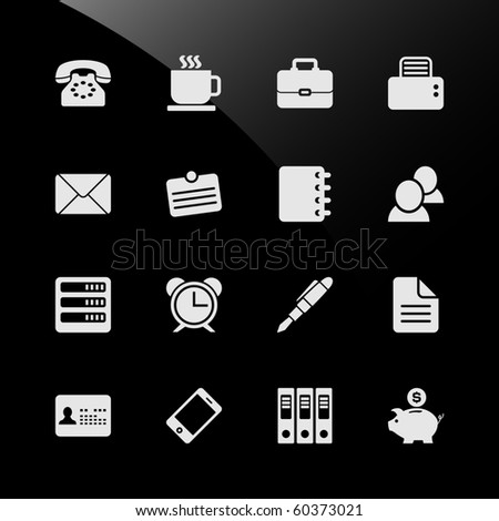 Office Work Workplace Business Financial Web Icons - stock vector