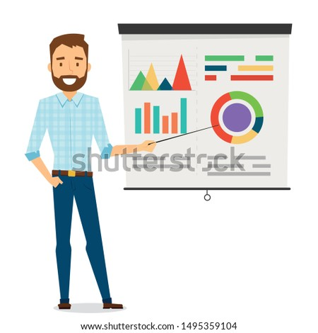 office worker - a man stands and shows a pointer to a board with production schedules and sales schedules