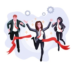 Office worker business woman character winner crossing finish line. Team competition corporate concept. Vector flat cartoon graphic design illustration