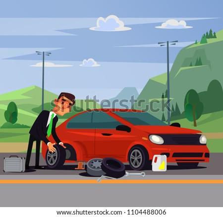 Office worker businessman man character changing fixing car wheel. Transportation road broke problems flat cartoon illustration graphic design concept element