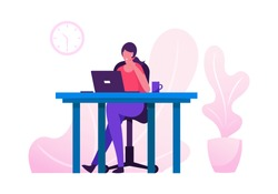 Office Worker Busy Business Woman or Freelancer Working on Laptop Sitting at Table Workplace Thinking of Task. Freelance Outsourced Employee Occupation Brainstorm. Cartoon Flat Vector Illustration