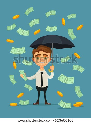 Office worker character hold umbrella and standing under money rain. Vector flat cartoon illustration