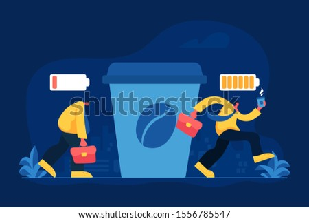 Office worker coffee break flat vector illustration. Caffeine addiction, emotional burnout, energetic drink concept. Tired and sleepy employee drinking espresso in morning cartoon character