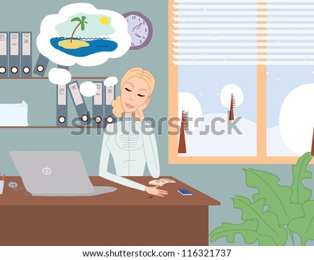 Office worker dreaming about vacation