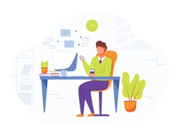 Office worker flat vector illustration. Businessman, boss drinking coffee. Comfortable workplace with computer. Secretary, personnal assistant checking mail. Employee, office manager cartoon character