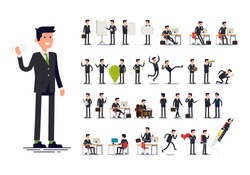 Office worker in formal suit. Large set of vector flat character design on businessman working and presenting process gestures, actions and poses. Ideal for business or financial infographics