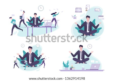 a667567834 Office worker in yoga pose set. Meditation on the work. Calm and relaxation,