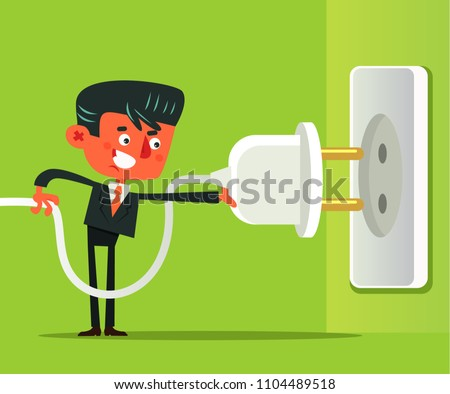 Office worker man businessman connect and disconnect electrical cable power socket. Error page flat cartoon illustration graphic design concept element