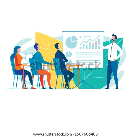 Office Worker, Presenting Financial Graphs to Colleagues or Potential Customers, Two Men and Woman, Sitting in Conference Room, Listening Attentively, Discussing, Taking Counsel, Sharing Ideas