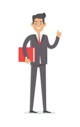 Office worker. Rich man in expensive suit isolated on white. Elegant male with documents folder. Successful businessman. Young person in stylish apparel. Handsome guy in modern clothes. Vector
