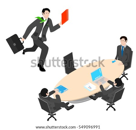 office worker running with a