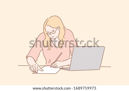 Office worker signing contract, business concept. Young businesswoman office secretary, clerk or manager, freelancer employee writing, signing contract, fills questionnaire or application form profile