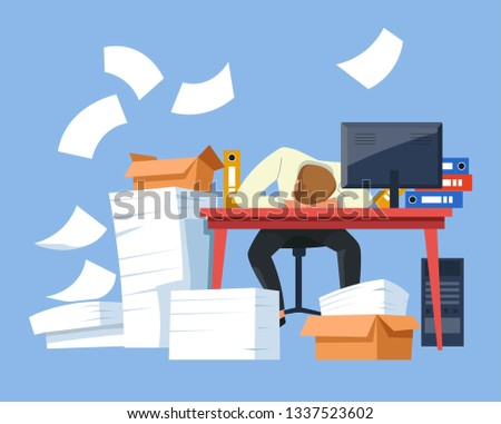 Office worker tired employee exhausted businessman vector man sleeping at workplace documents and cardboard boxes computer monitor and folders overworking deadline work overload nap at desk fatigue