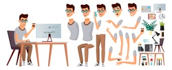 Office Worker Vector. Face Emotions, Various Gestures. Animation Creation Set. Businessman Person. Smiling Executive, Servant, Workman, Officer. Isolated Character Illustration