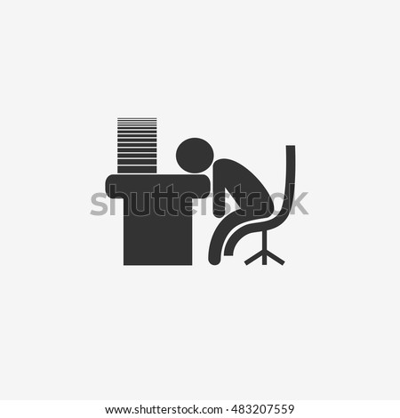 Office worker was tired. Sleeping workers. Vector icon