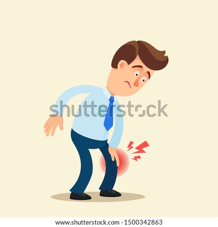 Office worker with knee pain. Vector illustration, flat design, cartoon style. Isolated background.