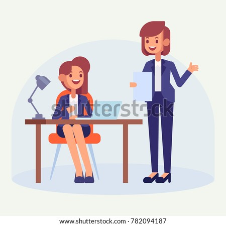 Office worker with lady boss. Female office clerk working at her  desk. Flat style, vector illustration.