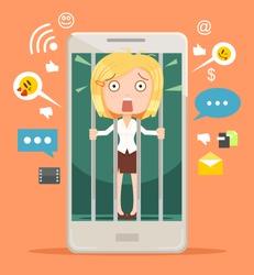 Office worker woman character hostage of modern technologies. Vector flat cartoon illustration