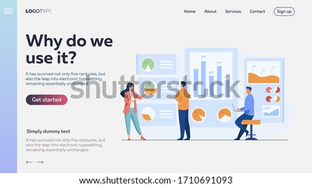 Office workers analyzing and researching business data vector illustration. Marketing analysts developing strategy. Business people studying infographics and diagrams on dashboard Zdjęcia stock ©