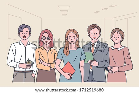 Office workers are standing in front of each other with a confident look. flat design style minimal vector illustration.
