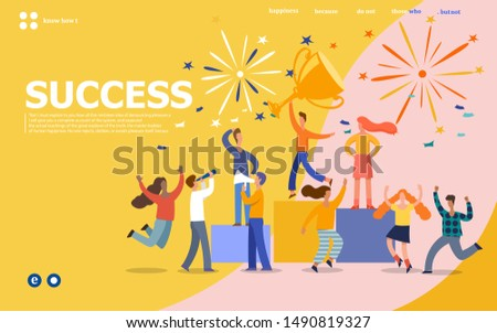 Office Workers Celebrating with Big Trophy. Business Team Success. Flat People Characters with Prize, Golden Cup.Vector illustration