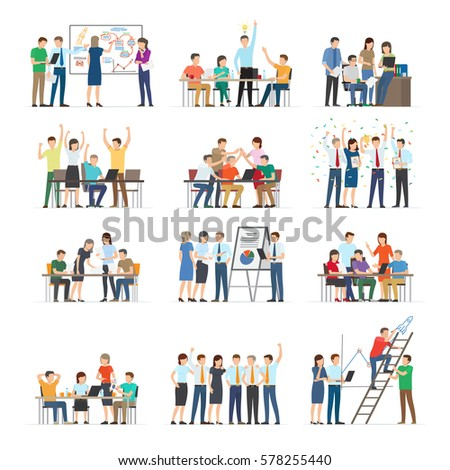 Office workers collaboration collection on white. Co working people discussing ideas. Vector illustration of business meeting, teamwork, collaboration and discussion, conference table, brainstorm.