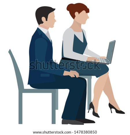 office workers - company employees sit on chairs - a man sits and listens, a woman accountant writes in a laptop