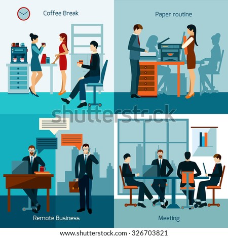 Office workers design concept set with business meeting and working routine icons isolated vector illustration