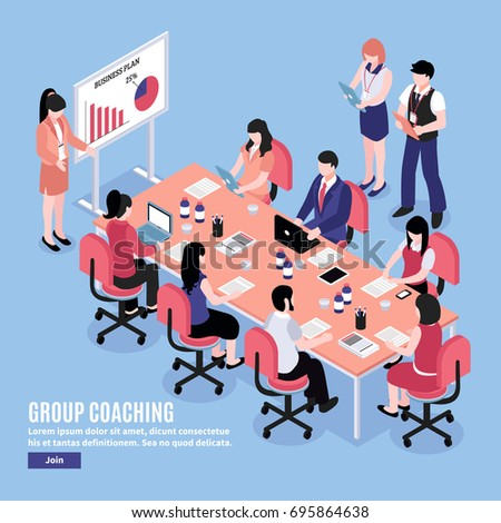 Office workers having brainstorm discussion at conference on blue background 3d isometric vector illustration