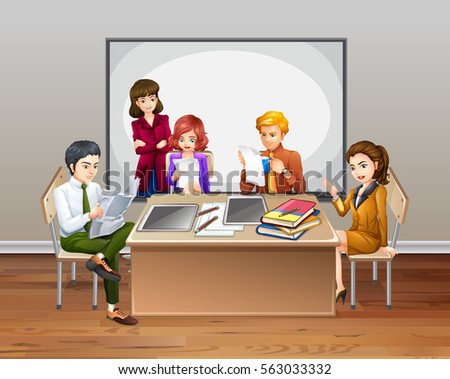 Office workers meeting in the room illustration