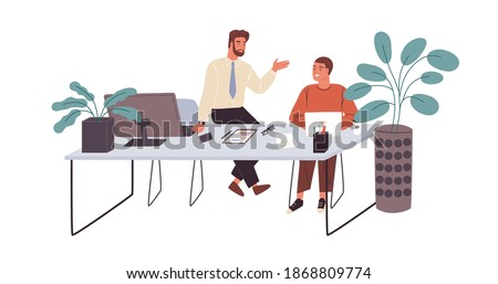 Office workers or clerks chatting during break time at workplace. Smiling men talking at office desk. Informal communication between colleagues. Flat vector illustration isolated on white background Stockfoto ©