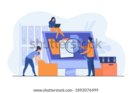 Office workers organizing data storage and file archive on server or computer. PC users searching documents on database. Vector illustration for information technology, source concept Stockfoto ©