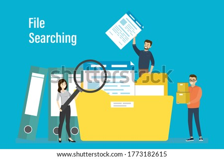 Office workers searching file. Woman employee uses magnifying glass. File binders, yellow folder with documents. File manager, data storage and indexing. Files search. Flat Vector illustration
