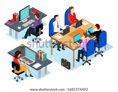 Office workers using laptops to analyze data and info at screens. People with computers at work. Employers at conference sharing thoughts on projects. Managers job, vector in isometric 3D style