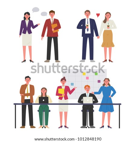 office workers with business partner and colleague vector illustration flat design