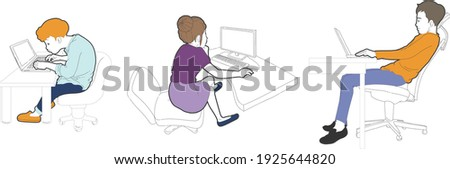 Office workers work in a crooked chair Stockfoto ©