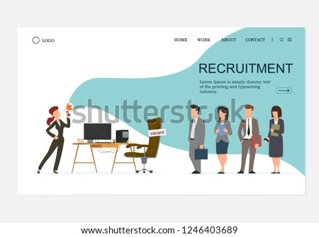 Office Workplace, Empty Seat with Vacancy Sign on Landing Page. Queue of Employees in Strict Suit. Female HR Making Announcement. Business Hiring, Recruitment Concept Site. Cartoon Vector Illustration