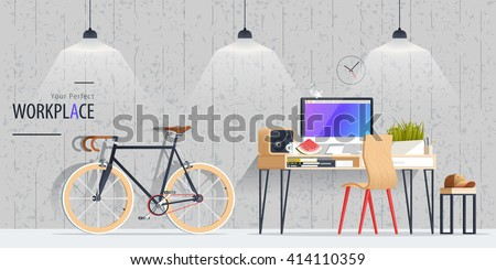 Office workplace flat design illustration with bicycle. Business concept objects, elements & equipment. Room interior. Web banner.