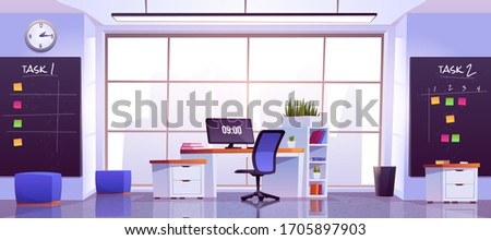 Office workplace interior with computer table, pc monitor, shelves, task boards front of wide floor-to-ceiling window with cityview. Working place for businessman, analyst, Cartoon vector illustration Stockfoto ©