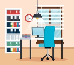 office workplace scene icons