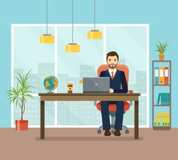 Office workplace with table, bookcase, window. Business man or a clerk working at her office desk.  Flat  vector illustration.