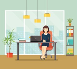 Office workplace with table, bookcase, window. Business woman or a clerk working at her office desk. Vector flat illustration