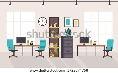 Office workstation furniture interior concept. Vector flat graphic design cartoon illustration
