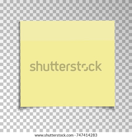 Office Yellow paper sticky note isolated on transparent background. Template for your projects. Vector