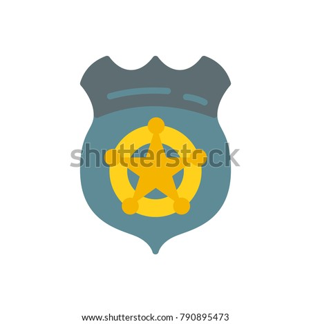 Officer badge police flat icon