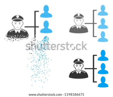 Officer subordinates icon with face in disappearing, pixelated halftone and undamaged solid versions. Particles are composed into vector dissipated officer subordinates icon.