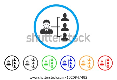 Officer Subordinates rounded icon. Style is a flat officer subordinates gray symbol inside light blue circle with black, gray, green, blue, red, orange color versions.