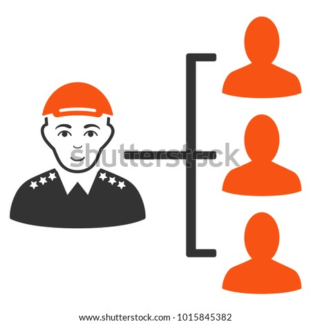 Officer Subordinates vector flat pictogram. Human face has joyful expression. A boy in a cap.